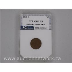 USA 1916-S One Cent Coin Lincoln MS65 BN - 'PCI' USA CAT: $775.00