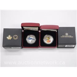 2x Royal Canadian Mint 'Birds of Canada' Coins: .9999 Fine Silver Blue Jay and Coloured Grosbeak Lim