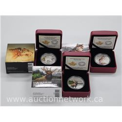 3x .9999 Fine Silver Royal Canadian Mint Collector Coins 'Alpha Wolf, Majestic Elk, Sabre Cat' (ATTN