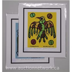 2x Norval Morrisseau (1931-2007) Giclee 'Thunderbird and Sacred Thunderbird 10x13 Unframed with Cert