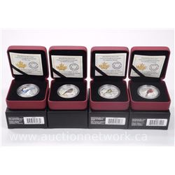 "4 x Royal Canadian Mint .9999 Fine Silver ""Songbirds of Canada"" $10.00 Limited Edition Coins with Ce"
