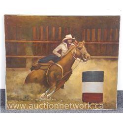 """Estate"" Original Oil on Canvas ""Horse Barrel Rider"" Signed ""Zsolt Nagy"". Approx. 26x30"" Unframed."