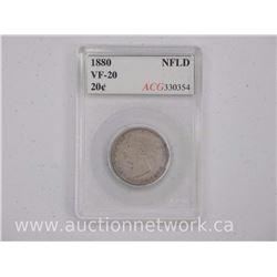 1880 Canada NFLD 20 Cent Coin (SIE) VF-20 'ACG'