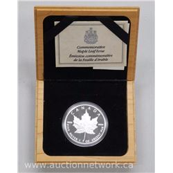 .9999 Fine Silver Commemorative Maple Leaf Wood Case with Cert '1979-1989'