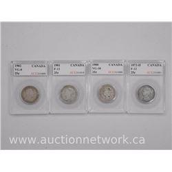4x Canada Silver Twenty Five Cent Coins (SXA) 1872H, 1900, 1901, 1902 (VG=F) 'ACG' (ATTN: 4 Times th