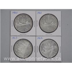 "4 x Canadian Silver Dollar Coins ""1960, 1961, 1962, 1963"" (ATTN: 4 times the bid price)"