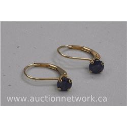 Ladies 10kt Gold 'Retro Hoop' Fashion Earring with 2 blue Sapphires (.80ct) SRRV: $515.00