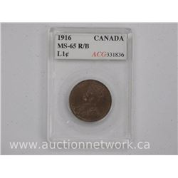 Rare- 1916 Canada One Cent Coin (KER) MS-65 R/B 'ACG'