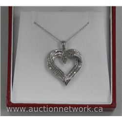 Ladies .925 Sterling Silver Custom Heart Pendant and Chain. 60 Diamonds = .38ct and 22 Channel Set B