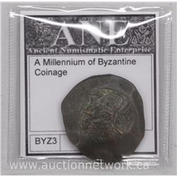 Byzantine Bronze Cup Shape Trachy Coin as 'scyphates' 9th-12th Century AD. Emperor - Christ and Virg