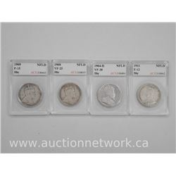4x Canada NFLD Silver Fifty Cent Coins (SSI): 1904-H, 1908, 1909, 1911 (F-VF) (ATTN: 4 Times the bid