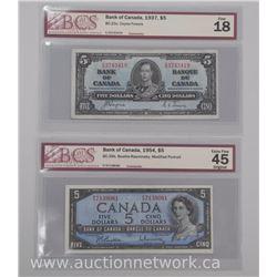 2x Bank of Canada Five Dollar Notes 1937 - F18 and 1954 Modified Portrait EF45 Original 'BCS' Cert (