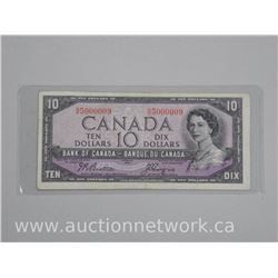 Bank of Canada 1954 Ten Dollar Modified Portrait Banknote with Special Serial NO. N/D5000009.
