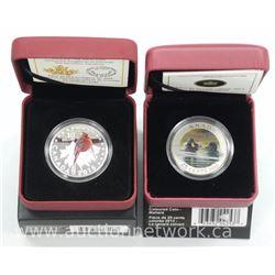 2x Birds of Canada Coins: .9999 Fine Silver Cardinal and Coloured Mallard. (ATTN: 2 Times the bid pr