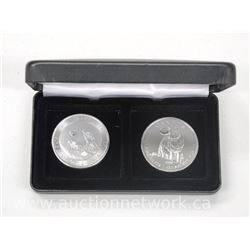 2x .9999 Fine Pure Silver 'Howling Wolves' and 'Wolf' Coin in Lighthouse Case. (ATTN: 2 times the bi
