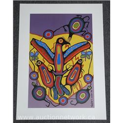 Norval Morrisseau (1931-2007) Litho 'Thunderbird' Cree Plated Signed. 24x33 unframed. Estate - Rare