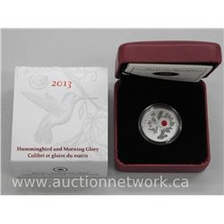 2013 - .9999 Fine Silver 'Hummingbird with Morning Glory' Red Swarovski Elements. Limited Edition wi