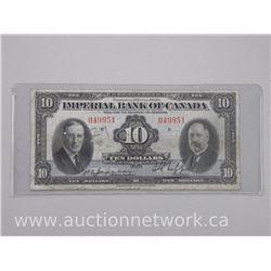 "Imperial Bank of Canada Jan. 1939 Ten Dollar Banknote. ""RARE Denomination"""