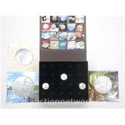 "Royal Canadian Mint - Collector Case with 3x .9999 Fine Silver $20.00 Coins and Folios ""Bugs Bunny,"
