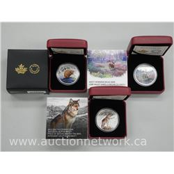 3x .9999 Fine Silver High Technology Coins: Mule Deer, Alpha Wolf, Beaver. Limited Edition with Cert