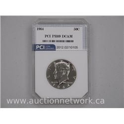 1964 USA Silver Kennedy 50 Cent Coin: PR69 DCAM US CAT: $490.00. 'PCI'
