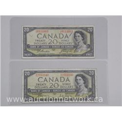 2x Bank of Canada 1954 Twenty Dollar Notes. Devil Face. 2 Signature Sets (ATTN: 2 Times the bid pric