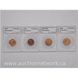 4x Canada One Cent Coin (OG) 1953, 1956, 1957, 1959. MS64 'ACG' (ATTN: 4 Times the bid price)