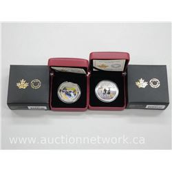 2x .9999 Fine Silver High Technology Coins: River Rapids and Ice Dancer. Limited Edition with Cert (