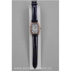 Ladies Rectangle Face Custom Watch with Swarovski Element Bead Set Border, Leather Band. (Water Resi