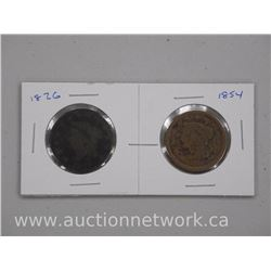 2x USA Large Cent Coins: 1826 and 1854 (ATTN: 2 Times the bid price)