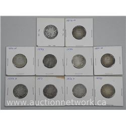 10x Queen Victoria Silver Twenty Five Cent Coins. (KXR) Late 1800s. Rare Dates. Low Mintage. (ATTN: