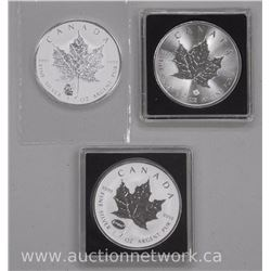 3x .9999 Fine Silver Maple Leaf Bullion Coins (E=MC2) (Panda Privy) (2016 $5.00) (ATTN: 3 Times the