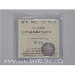 NFLD 1865 Ten Cent Coin (MER) VF-30. 'ICCS' Scarce Coin