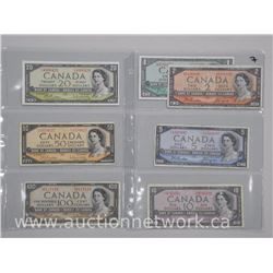 Bank of Canada 1954 Denomination Set: One Dollar Note - One Hundred Dollar Note. $188.00 FACE ( 7 No