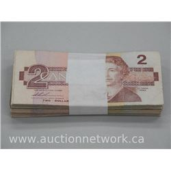 Lot of (100) Bank of Two Dollar Notes 1986 - Unsearched.