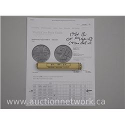 Scarce Roll of 100 '2 Rappen' 'Switzerland' 1954B (BU) Coins. US CAT - $9.00 each