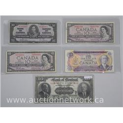 5x Ten Dollar Notes. 1923 Bank of Montreal (VG/F) and (4) Bank of Canada 1937, 1971, 1954, 1954 (VG/