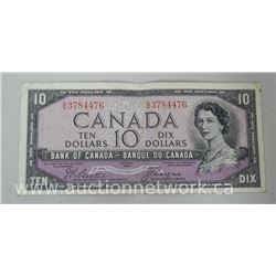 Bank of Canada 1954 Ten Dollar Note (IR) (EF) G/D Devil Face (BC-32B)