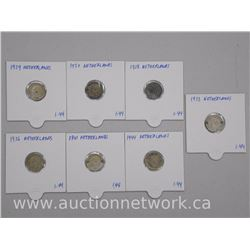 7x Netherlands Silver - Ten Cent Coins Mixed 1930s-1940s (ATTN: 7 Times the bid price)