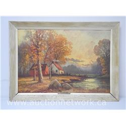 'Robert Wood' (1889-1979) 'American Landscape Artist' 'AUTUMN SUNSET' Image 26x18' Framed 22x30. Bra