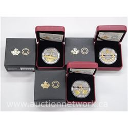 3x Royal Canadian Mint .9999 Fine Silver Large 5 Cent Coins with 23kt Gold Overlay. Mint Issue: $110