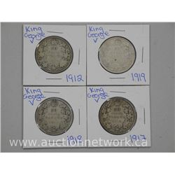 4x .925 Sterling Silver - King George Fifty Cent Coins. 1912, 1917, 1918, 1919. (SMR) (ATTN: 4 Times