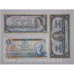 3x Bank of Canada Five Dollar Notes: 1937, 1954, 1979. Mixed Signatures. (ATTN: 3 Times the bid pric