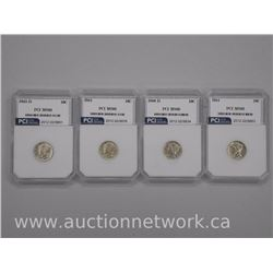 4x USA Silver Mercury 10 Cent Coins 1940D- 1943d - 1944 - 1945 (MS66) PCI (ATTN: 4 Times the bid pri