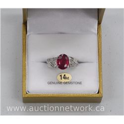 Ladies 14kt Gold Oval Ruby and Diamond Ring, 3.55ct Ruby and 14 Diamonds = 3.83tw . Styled in Europe