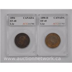 2x Canada Large 1 Cent Coin (SRG 1890-H (EF45) and (1894-EF-40) 'ACG' (ATTN: 2 Times the bid price)