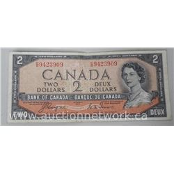 Bank of Canada 1954 Two Dollar Note (CE) (VF) Devil Face C/B (BC-30A)