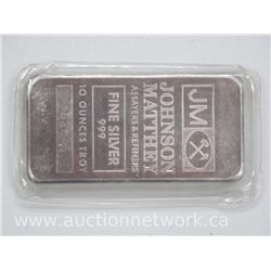 JM .9999 Fine Silver 10 Troy ounce Bar with Serial Number. No Longer in Production.