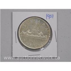 1951 Canada Silver Dollar Coin