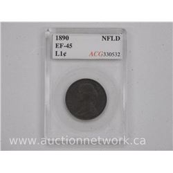 1890 NFLD Large Cent Coin (SME) EF-45 'ACG' Scarce.